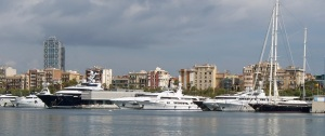 Yachts in Barcelona harbor