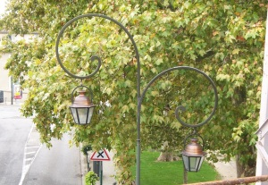 Brass street lamps in Carcassonne