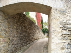 Medieval village of Camon. France city walls