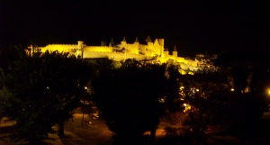Carcassonne chateau at night
