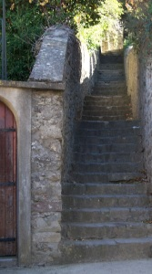 Steps up to the chateau in Carcassonne