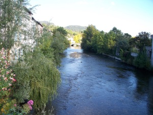 River Aude in Quillan, France, foothills of the Pyrenees