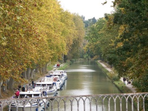 Walking along the Canal du Midi in Carcassonne