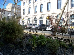 The post office has its own garden