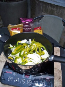 Cooking curried vegetables outside