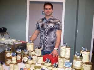 The fois gras vendor with his products.