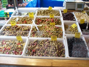 Colorful olives in the market