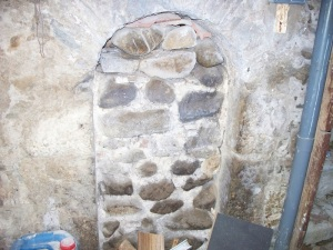 Former fireplace in the basement
