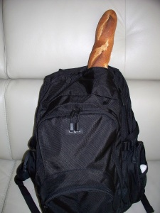 Baguette in a backpack
