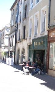 A bar on the pedestrian walkway