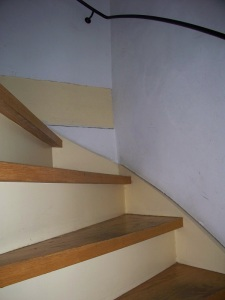 Steep, narrow stairs
