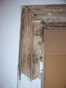 A stripped door frame, ignore the burn marks