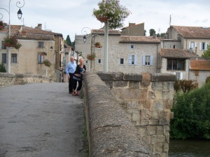 Bill and Lee on the old bridge in Limoux