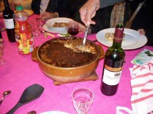 Serving Roland's homemade cassoulet