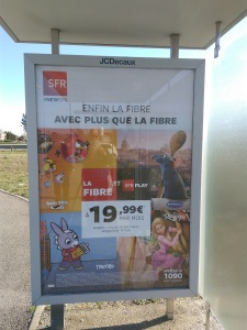 Bus shelter ad for fiber cable TV