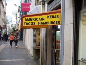 American hamburgers, tacos, and kebabs