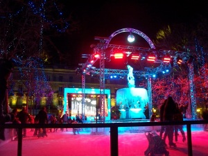 Ice skating in the center of town