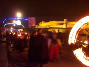 Torchlight march across the 14th century bridge