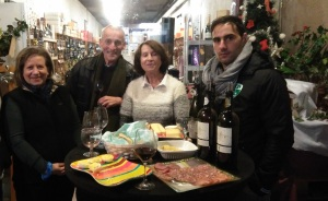 Tasting wine with the owner, her mom, and the presenter