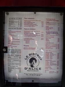 The menu at Alice